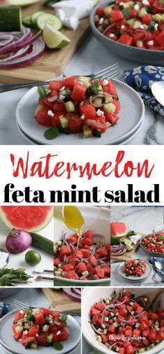 Easy Greek Style Watermelon Feta Mint Salad Recipe watermelon feta salad