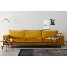 whkmp's own Verona L Couch, Mustard Sofa, Yellow Sofa, Rustic Contemporary, Living Room Interior, Interior Livingroom, Accent Furniture, Sofa Design, Living Area