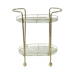 Brass Bar Cart: Simple brass bar cart with bamboo brass legs and clear glass. Sundrop Vintage Rentals/ Rent Vintage Furniture in California for Weddings/ Parties/ Events/ Photo shoot/ Bridal Shower/ Sofa /Settee/ Vintage/ Boho/ Baby Shower/ Rentals