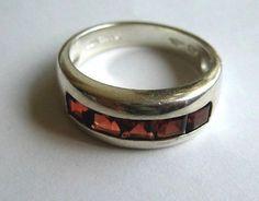 Garnet gemstone vintage sterling silver band by WatchesAndJewels, $29.00