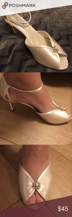 4d6a00b9891 They are ivory with silver flower on the front size Touch Ups Shoes Heels