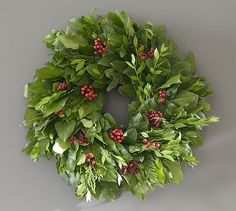 Live Holiday Red Berry Wreath #potterybarn