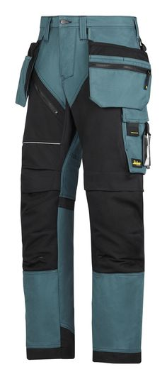 Tough design for rough work. Modern heavy-duty work trousers combining amazing fit with reinforced functionality. Features Cordura® 1000 reinforced knee protection, built-in ventilation and stretch gusset in crotch for hardwearing comfort at work. Work Trousers, Work Pants, Workwear Trousers, Industrial Workwear, Snickers Workwear, Pantalon Cargo, Tactical Clothing, Fashion Poses, Outdoor Outfit