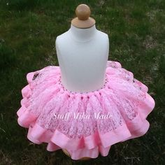 Pink Lace Tutu with Ribbon Trim