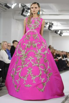 Oscar de la Renta shocking pink silk ball gown with gold bullion embroidery.