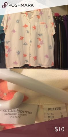 Cool rayon blouse to wear with skirt or jeans Gently worn summer shirt Liz Claiborne Tops Button Down Shirts