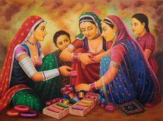 Bangle Seller by Anup Gomay Village Scene Drawing, Art Village, Rajasthani Painting, Rajasthani Art, Madhubani Art, Madhubani Painting, Indian Art Paintings, Nature Paintings, Indiana