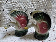 Pair of Duck Planters Vases Vintage Pottery Pink Green White  offered by rubylane shop Saltymaggie's Treasures
