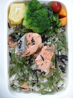 salmon and dried seaweed mixd rice  20130709 Lunch