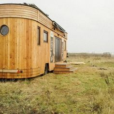 """The Wohnwagon (""""living wagon"""") is built from locally sourced Austrian woods and has sheep wool insulation, solar panels, a living roof and a water circulation system that uses marsh plants to clean and re-use greywater. Tiny House Blog, Tiny House On Wheels, Glamping, Tiny House France, Deco Nature, Living Roofs, Water Collection, Solar Panels For Home, Rain Barrel"""