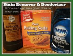 Homemade Stain Remover and Deodorizer with peroxide, dawn and baking soda http://www.sistersshoppingonashoestring.com/peroxide-baking-soda-dawn