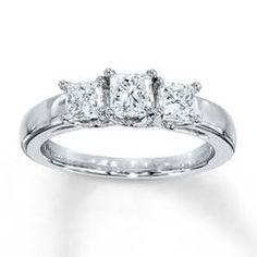 3-Stone Diamond Ring 1 ct tw Princess-cut 14K White Gold