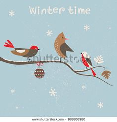 Christmas card for xmas design with birds. by Ladoga, via ShutterStock