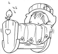 Sleeping baby, precious moments, coloring pages
