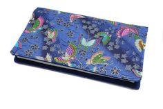 porte-chéquier bleu en tissu japonais format portefeuille