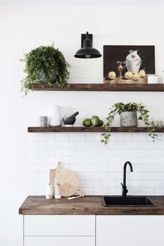 White tiles and wood shelves in the barn at The Bower, Byron Bay (luxury boutique design hotel). Interior Modern, Interior Desing, Home Interior, Minimalist Interior, Home Design, Design Hotel, Design Design, Byron Beach, Kitchen Decor