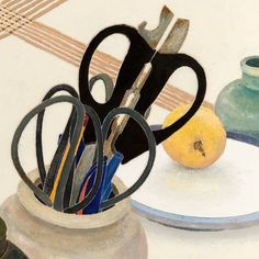 Scissors and lemon Contemporary Australian Artists, Jonas Wood, Still Life Artists, Still Life Images, Collections Of Objects, Graphic Illustration, Illustrations, Beautiful Paintings, Painting Techniques