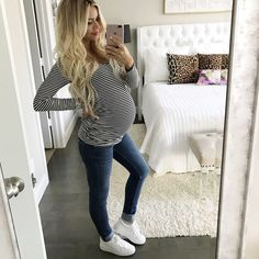The best maternity jeans and adorable maternity striped top! Casual, comfy and classic maternity wear!