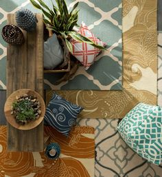 Outdoor safe rugs, poufs, pillows and accent pieces from Surya!
