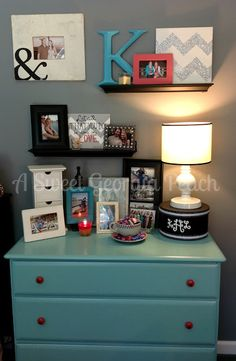 I just love the shelving!! Such a cute idea for the bedroom or any room, really. Love!