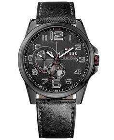 Tommy Hilfiger Men's Black Leather Strap Watch 46mm 1791005