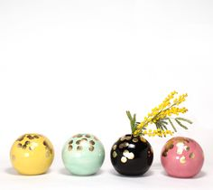 Polka Ball Vase -  little ball vases are festive & make me happy. The colors are amazing and the golden polka dots are just the icing on the cake! They are so beautiful, they don't even need flowers! | babasouk.ca