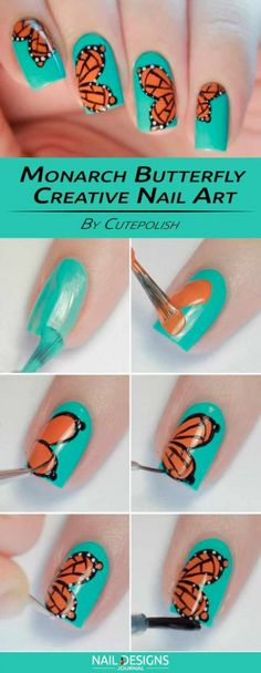 There are many options with easy and creative nail design. So bringing the idea - There are many options with easy and creative nail design. So bringing the idea - Nail Art Designs, Butterfly Nail Designs, Butterfly Nail Art, Pedicure Designs, Creative Nail Designs, Creative Nails, Monarch Butterfly, Toe Nail Art, Easy Nail Art