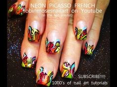 PICASSO NEON nails on french manicure. robin moses nail art design tutorial 661