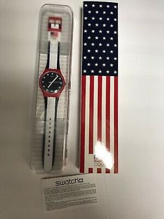 New: Swatch Watch Red White and Blue 2016 Olympic Condition is New in Box. Hockey Gifts, Enamel Jewelry, Bape, Olympics, Swatch, Red And White, Things To Sell, Pattern