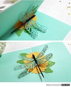 Video: Pop-Up Dragonfly Card by Ilina Crouse for Hero Arts Pop Up Flower Cards, Butterfly Cards, Butterfly Template, Butterfly Dragon, Monarch Butterfly, Fancy Fold Cards, Folded Cards, Pop Up Card Templates, Tarjetas Pop Up