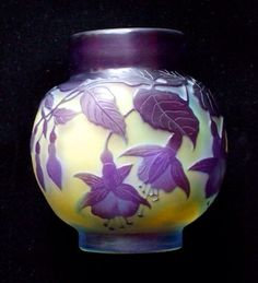 Cameo glass Fuchsia 'mini pot' vase by Emile Galle