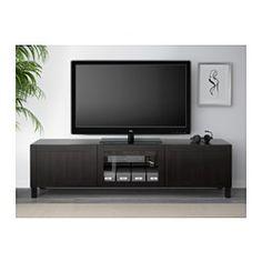 IKEA - BESTÅ, TV unit with drawers and door, Hanviken black-brown clear glass, drawer runner, push-open,