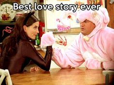 """FRIENDS -- """"The One with the Halloween Party"""" -- Epsiode 6 -- Aired -- Pictured: Courteney Cox as Monica Geller-Bing as """"Catwoman"""", Matthew Perry as Chandler Bing as """"Big Pink Bunny""""--. Get premium, high resolution news photos at Getty Images Friends Tv Show, Tv: Friends, Serie Friends, Friends Moments, Friends Forever, Monica Friends, Chandler Friends, Chandler Bing, Monica E Chandler"""