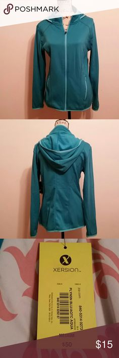 Full Zip Hoodie Pretty teal/blue full zip hoodie, new with tags. 95% polyester 5% spandex xersion Jackets & Coats
