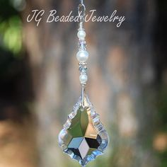 Crystal Suncatcher With Swarovski Pearls! Hang it in a window, on the rearview or as a light pull! by JGBeadedJewelry