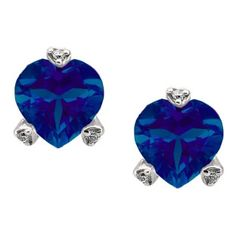Simple Heart Shaped Blue Sapphire Gemstone Diamond Sterling Silver Earrings Available Exclusively at Gemologica.com
