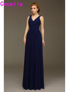 ea640be53276 2017 Real Navy Blue Long Bridesmaids Dresses V neck Tank Straps Wedding  Party Dress Floor Length