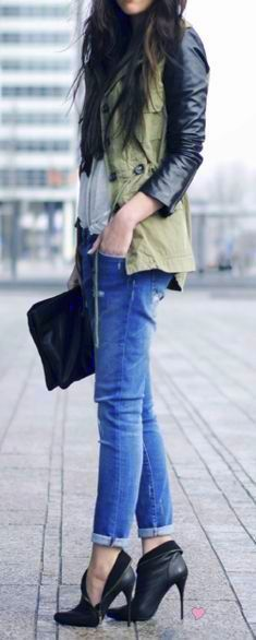 Military jacket with denim and heels