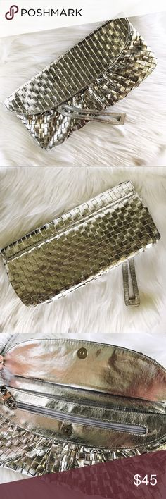 Steve Madden Silver Metallic Wristlet Clutch Excellent like new condition, beautiful shiny silver clutch by Steve Madden. Steve Madden Bags Clutches & Wristlets