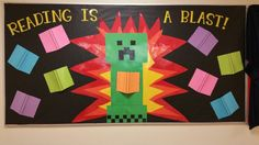 Minecraft bulletin board I made for the library at my son's school.