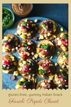Farali Papdi Chaat is a gluten free way to enjoy the famous Indian Street Food, Papdi Chaat. Mixture of simple ingredients like potatoes, peanuts, fruits and chutneys results in a tangy, sweetish, delightful lip smacking snack. #snack #farali #ekadashi #streetfood #glutenfree #amaranthflour #potato #peanuts #chutneys #fruits #indiansnack Vegetarian Platter, Vegetarian Recipes, Indian Snacks, Indian Food Recipes, Easy Summer Meals, Summer Recipes, Yummy Snacks, Snack Recipes, Papdi Chaat