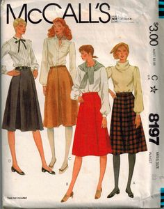 Vintage 80's Sewing Pattern, Misses' Gored Skirts, Size 6 by SuzisCornerBoutique on Etsy