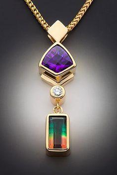 Glenn Dizon Tourmaline, Amethyst and diamond pendant gold, bi-color tourmaline and Amethyst gold set with bi-color tourmaline, amethyst and diamond. Modern Jewelry, Jewelry Art, Antique Jewelry, Jewelry Necklaces, Fine Jewelry, Fashion Jewelry, Jewelry Design, Vintage Jewellery, Geek Jewelry