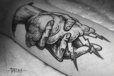 woodcut tattoo - love the cloud lines