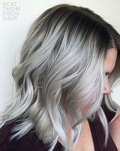 Dark Roots + Silver Grey Hair Style: