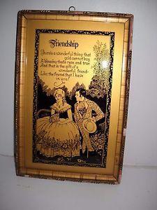 """Antique Silhouette Reverse Painted Couple Friendship Poem 10"""" x 61/2"""" Primitive"""