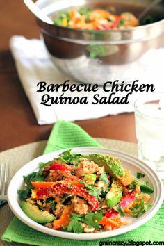 Delicious Barbecue chicken quinoa salad. #healthy #vegetables #quinoa #Easter meal option. Yum!  Grain Crazy