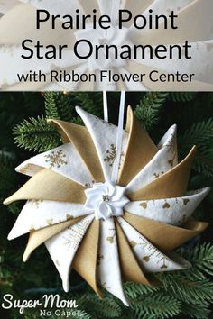 This beautiful variation of the Prairie Point Star Ornament with ribbon flower center would be a lovely addition to your holiday decorations. They are awesome gifts too! Link included to the complete step-by-step tutorial. via Super Mom – No Cape! Easy Sewing Projects, Sewing Hacks, Diy Projects, Prairie Point Star Ornament, Sewing Classes For Beginners, Prairie Points, Quilted Ornaments, Folded Fabric Ornaments, Quilted Christmas Ornaments