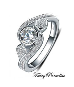 Art Deco Bezel Set Unique Engagement Ring, Promise Ring with 0.7 carat center man made diamond, Free gift box  ( FairyParadise )
