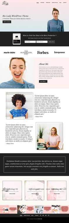 New Biz Lady WordPress Theme on @creativemarket. Feminine Business theme for online entrepreneurs. LifterLMS and WooCommerce ready to sell digital products!